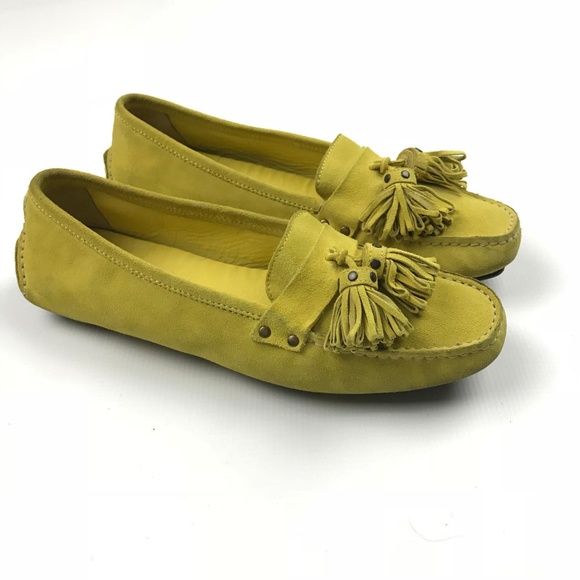 451f525e58a J. Crew Shoes - J.Crew Yellow Tassel Toe Suede Leather Driving